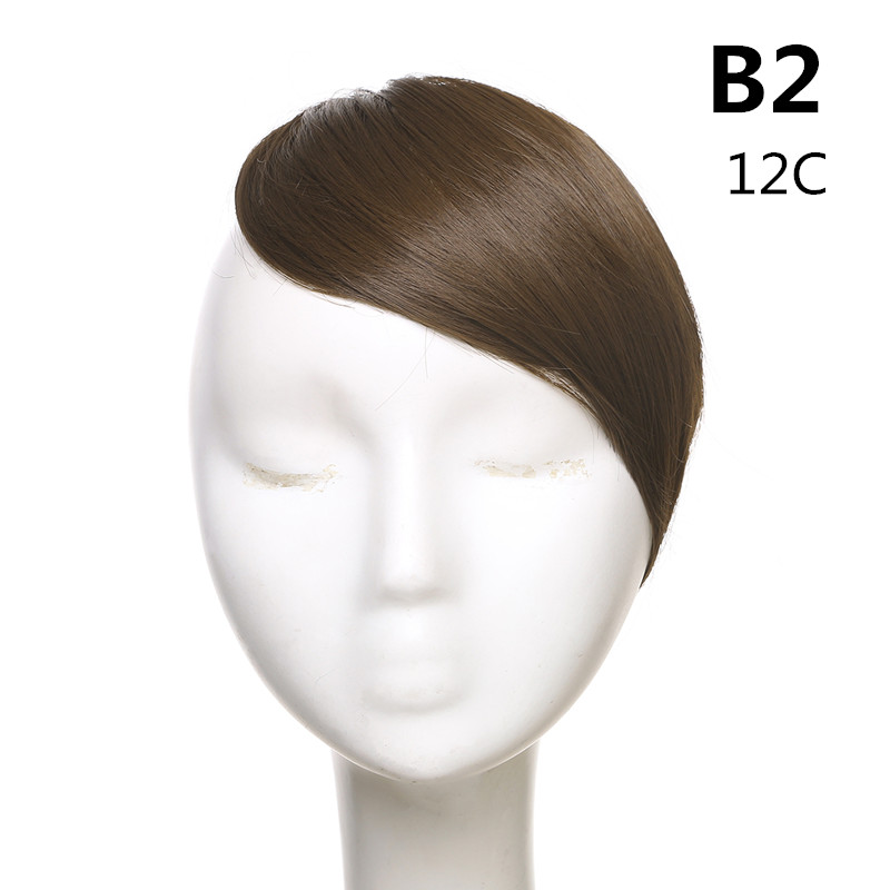 SARLA волосы челка клип в подметание боковая бахрома поддельные накладные взрыва натуральные синтетические волосы кусок волос черный коричневый B2 - Цвет: 12C