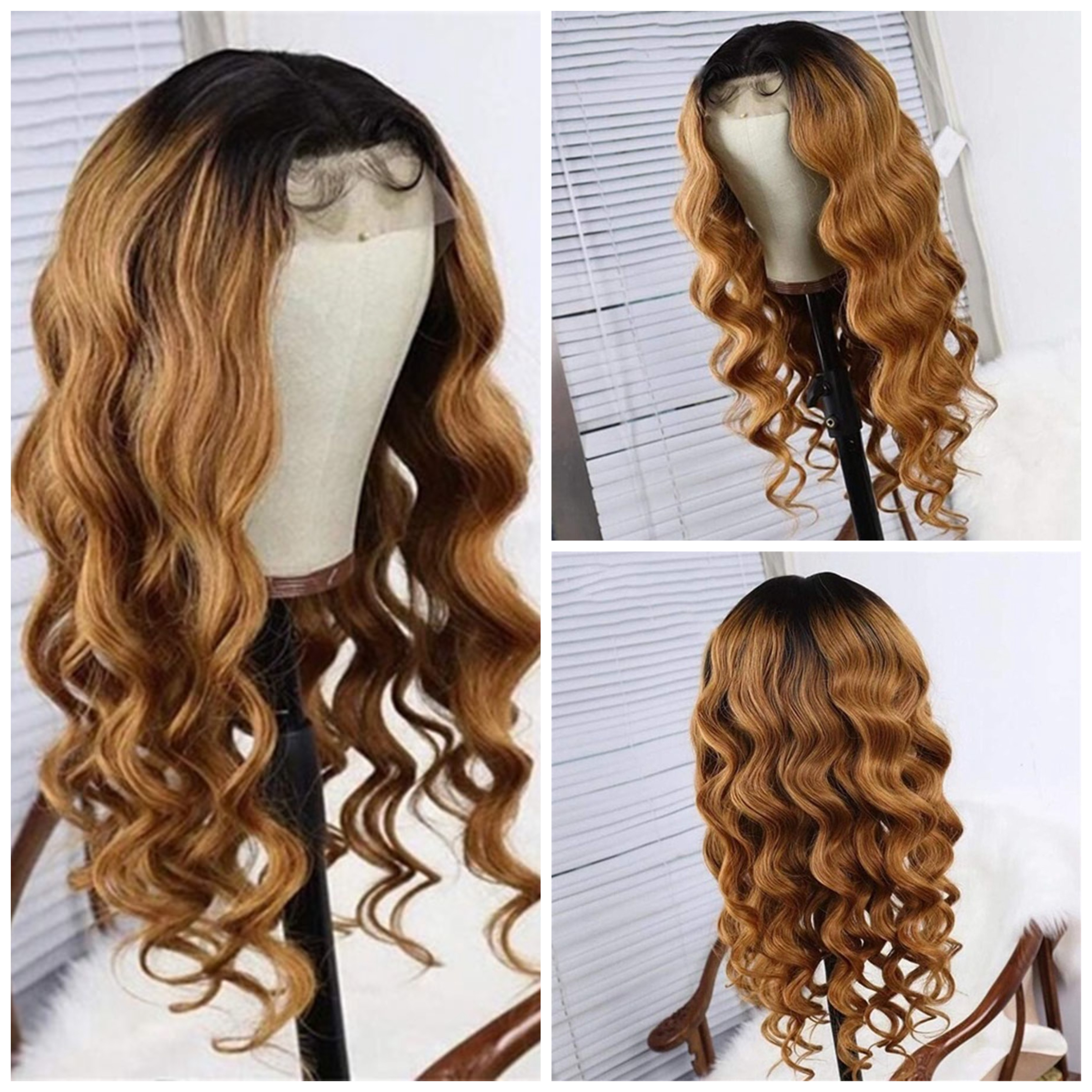 Glueless Ombre 1B/#27 13x6 Lace Front Human Hair Wigs With Baby Hair Brazilian 13×6 Lace Front Wig For Black Women