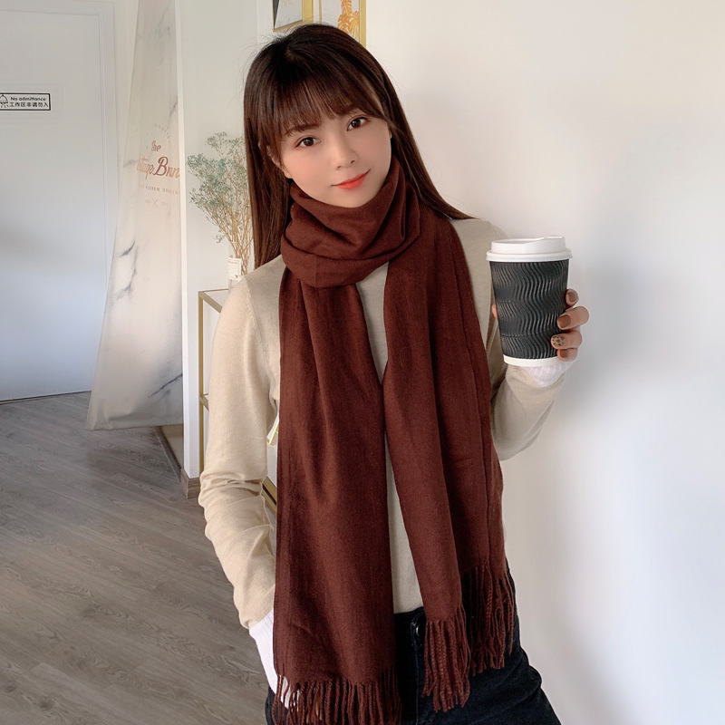 Spring And Autumn Solid Color Faux Cashmere Scarf Shawl Wholesale Monochrome Tassels Solid Color Scarf Warm Shawl Scarf Wholesal