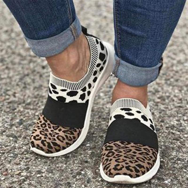 Women Sneakers Female Woven Leopard Print Sports Shoes Ladies Breathable Round Toe Flat Women