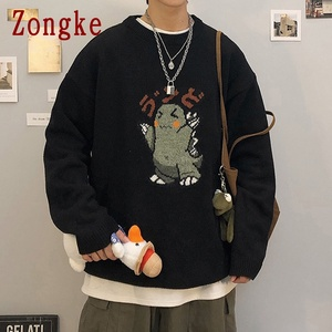 Zongke Black Knitted Sweater Men Winter Mens Clothes Pullover Mens Sweaters Harajuku Sweater Little Monster Print 2020 M-3XL