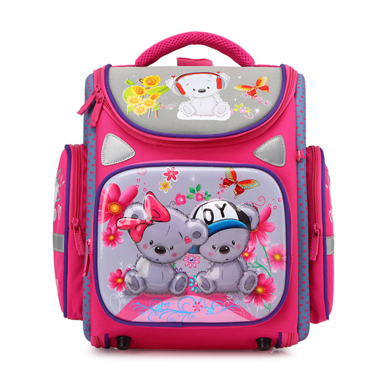 NEW Fashion Girls Cartoon Cat Waterproof School Bags For Kids 1-5 Grade Children Orthopedic School Backpacks Mochila Escolar