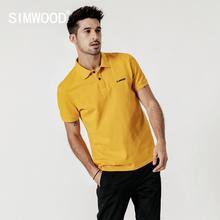 Simwood 2020 verão novo logotipo bordado camisa polo 100% algodão clássico superior manga curta de alta qualidade mais tamanho 190295