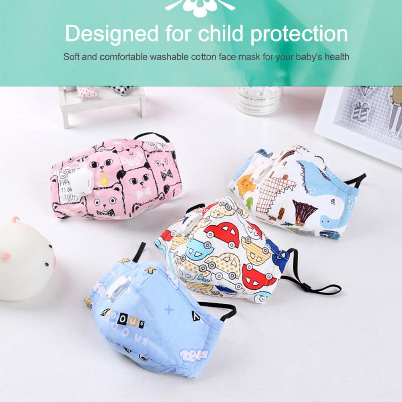 Kids Face Mask Respirator Mask Baby Reusable Breathable Cotton Mask For Children With Breathing Valve Can Put Mask Filter