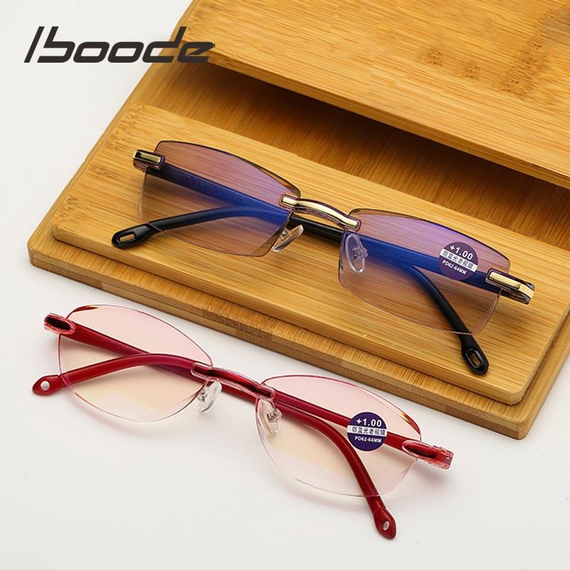 Iboode Rimless Anti Blue-ray Reading Glasses Men Women Anti Blue Light Blocking Presbyopic Reading Eyewear Computer Eyeglasses