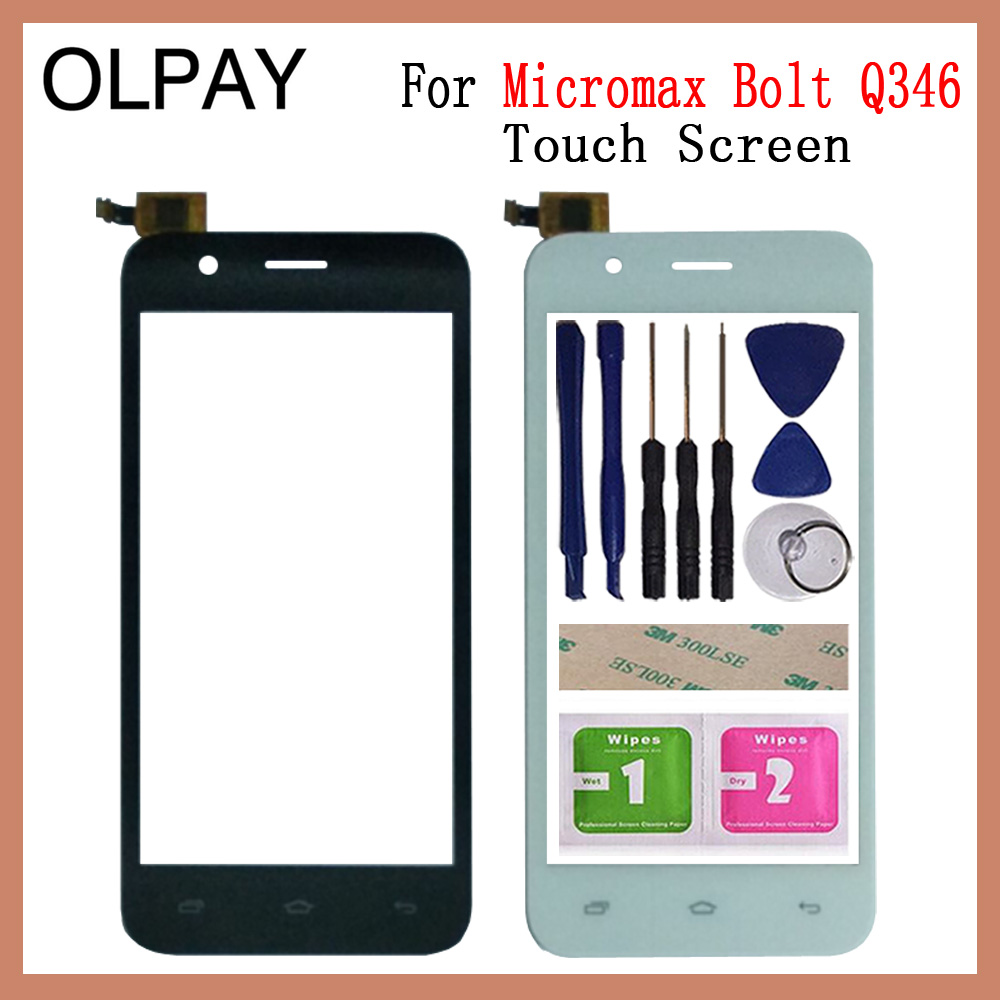 OLPAY 4.5'' For Micromax Bolt Q346 Touch Screen Digitizer Panel Front Outer Front Glass Lens Sensor Tools Free Adhesive+Wipes