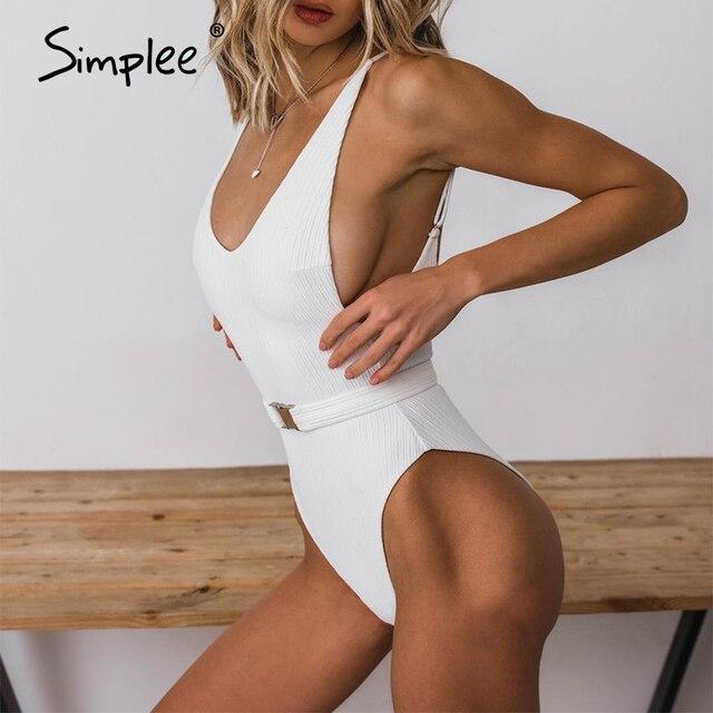 Simplee Sexy push up one-piece bikini women High cut white female swimsuit Summer beach wear ladies swimwear playsuit 2019 3