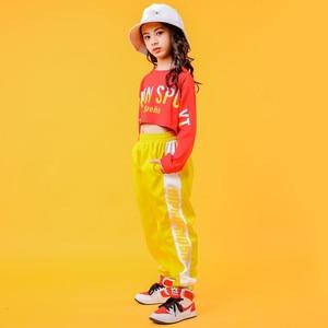 Image 2 - 2019 Childrens Jazz Dance Costumes Girls Hip Hop Wear White sweatershirt Yellow Pants Street Dance Performance Clothings