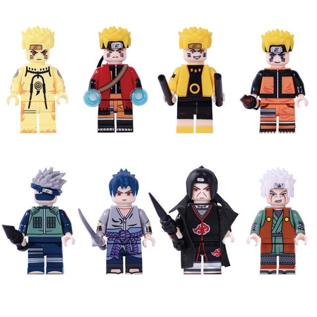 8Pcs Naruto Action Figure Dolls Mini Building Blocks Diy Assembling Model Toys Hatake Kakashi Uchiha Sasuke Figures Blocks