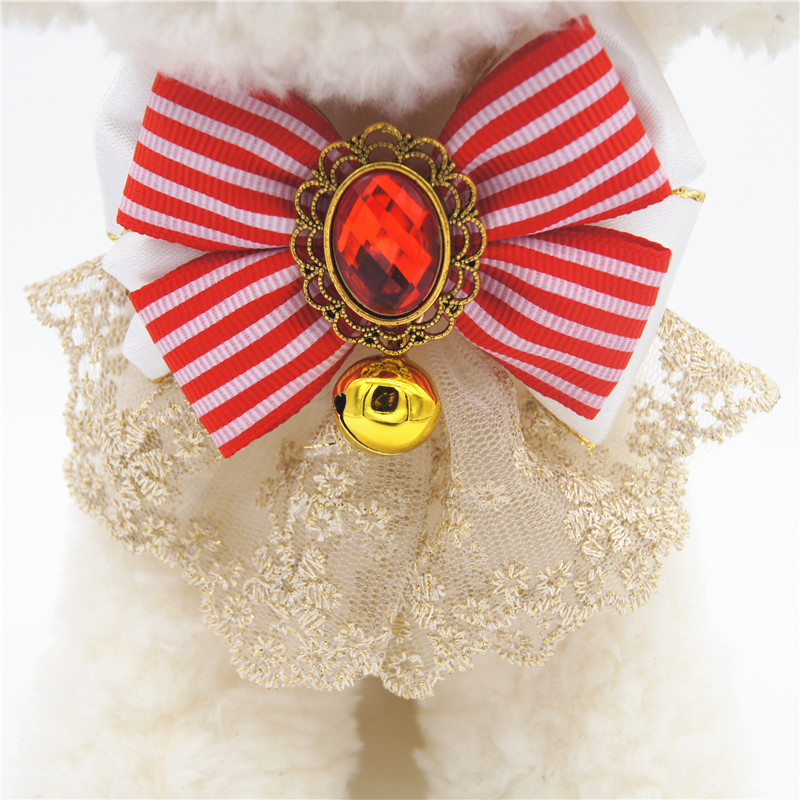 Large Bell Lace Bow Pet Collar With Anti Lost ID Can Carve Writing Dog Traction
