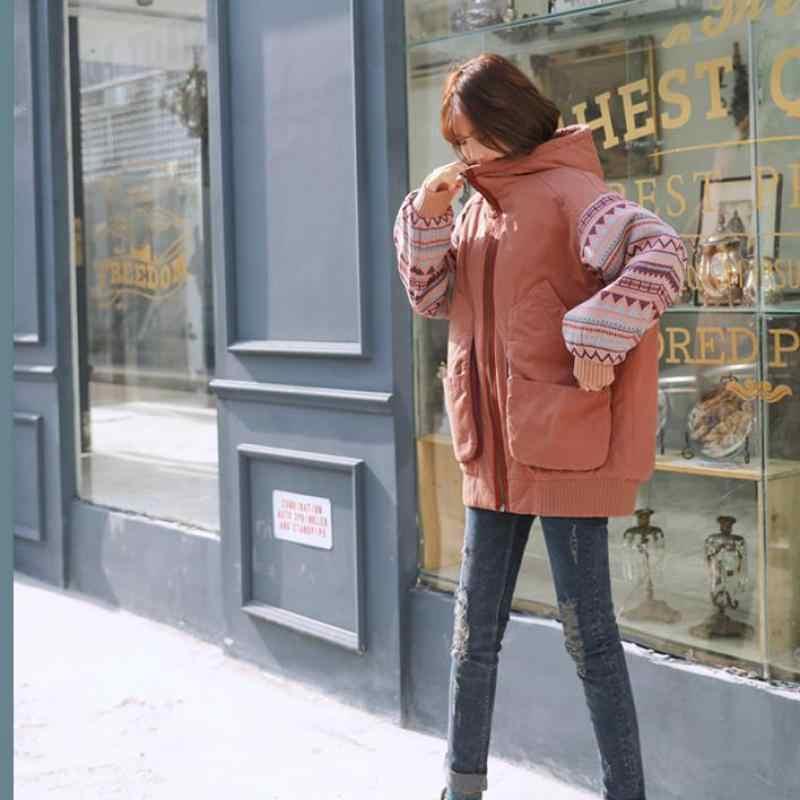 Johnature Allentato Più Il Formato Delle Donne di Inverno Giubbotti E Cappotti 2020 New Cucita Vestiti di Cotone Tasca Lungo di Spessore Donne Cappotto Parka