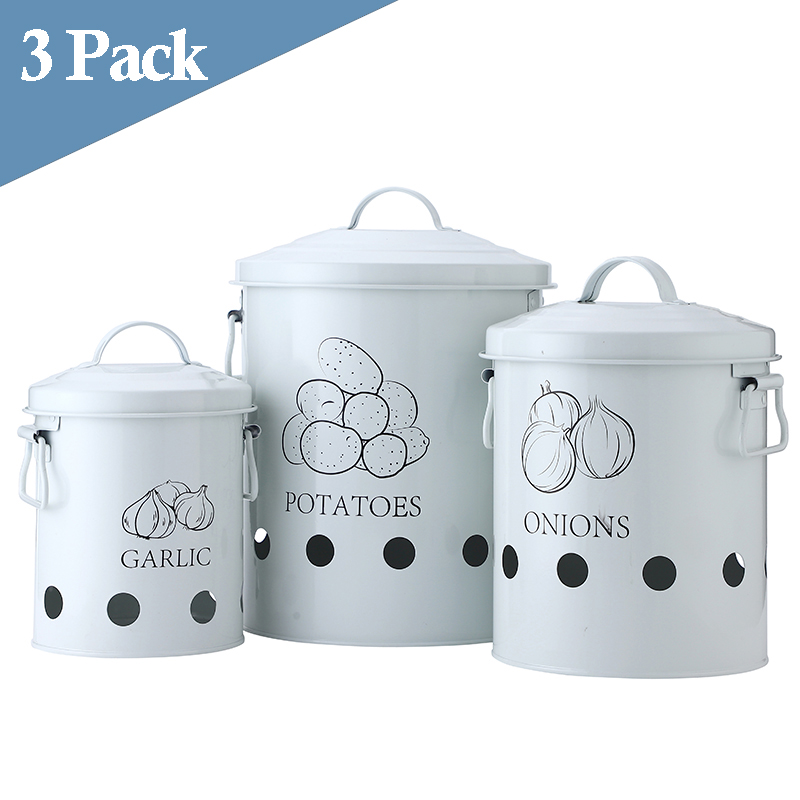 Breathable Kitchen Container Set and Food Storage Bins with 2 Handles for Storing Potatoes and Onions 3