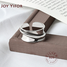 925 Sterling Silver rings for women wide smooth round Simple Minimalist Open Adjustable Finger Rings Fashion Band Female Bijoux