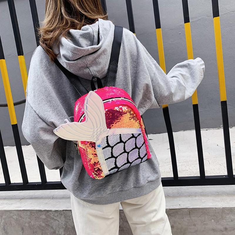 0-Милый мультфильм блёстки рюкзак рыбий хвост Женская сумка Kawaii девушки школьный ранец на молнии путешествия большой емкости сумки на плечо ... смотреть на Алиэкспресс Иркутск в рублях