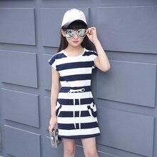цена Summer Girls Dress Cotton Striped Casual Princess Teenagers Dress For Girls Party Kids Clothes 4 6 8 10 12 Years Children Dress онлайн в 2017 году