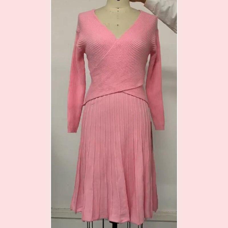 交叉针织裙