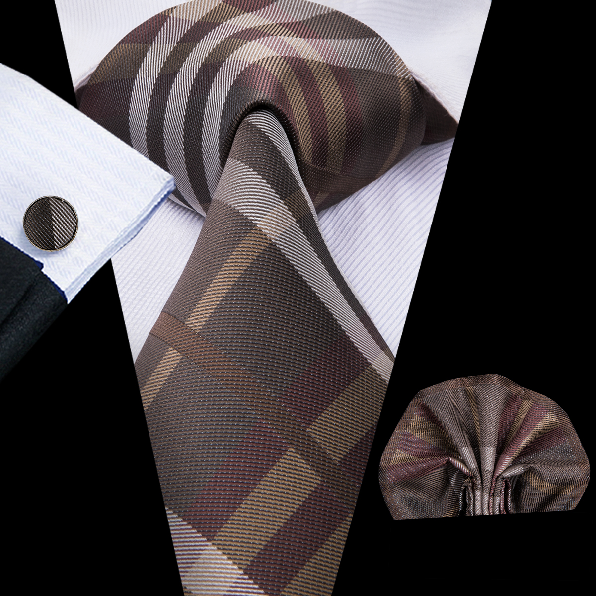C-3014 Hi-Tie Men Tie Silk Necktie Plaid Brown Ties For Men High Quality Hanky Cufflinks Set Men's Wedding Pocket Square Tie Set