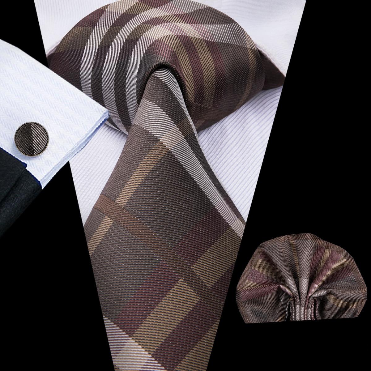 C-3014 Hi-Tie Men Tie Silk Necktie Plaid Brown Ties For Men High Quality Hanky Cufflinks Set Men's Wedding Pocket Square Tie Set