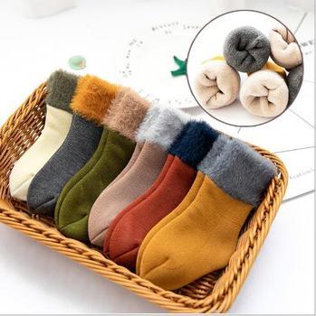 Winter new thickening baby snow socks velvet warm children's socks plus velvet comfortable baby socks footwear 1