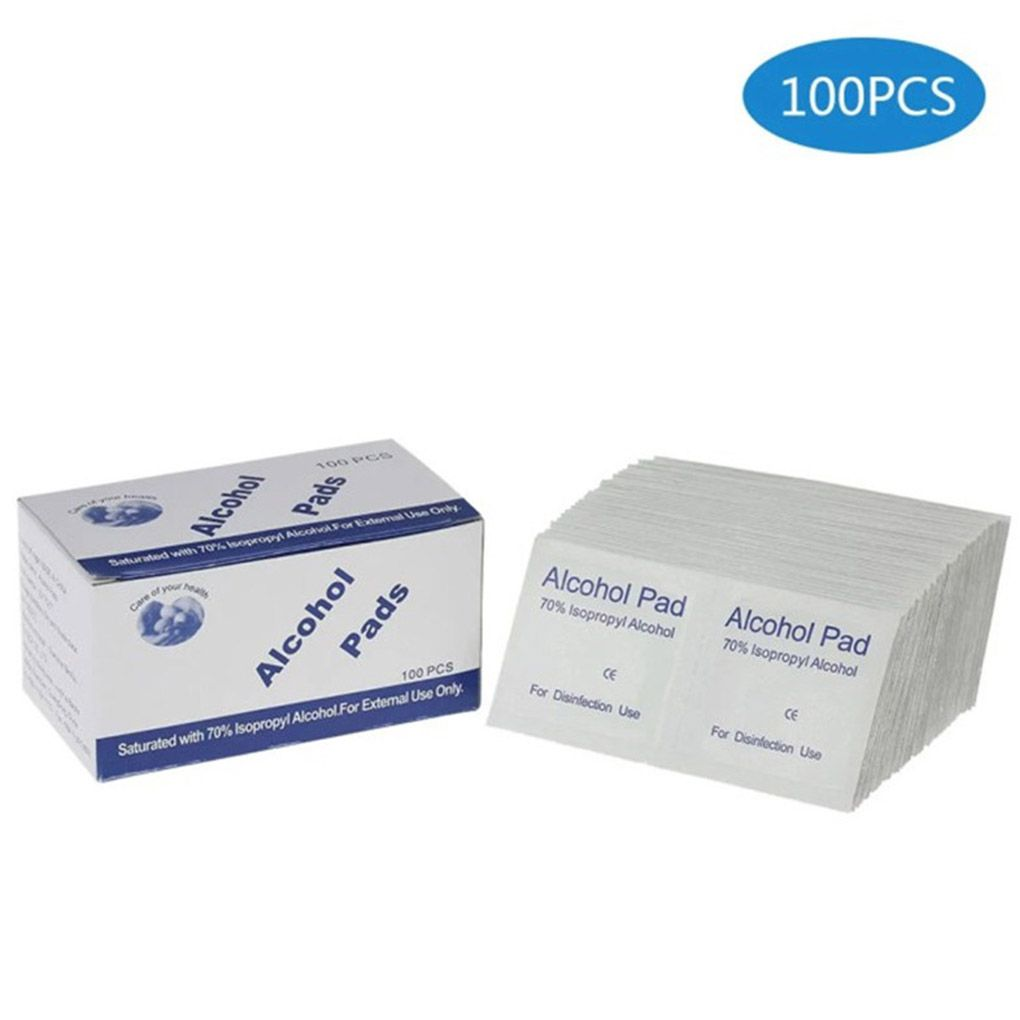 100PCS/Set Portable Alcohol Swabs Pads Wipes Antiseptic Cleanser Cleaning Sterilization First Aid Home Skin Makeup