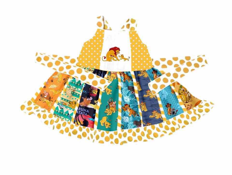 The lion king summer fashion girl style boutique clothing party dress for children