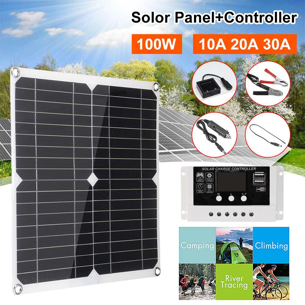 <font><b>100w</b></font> <font><b>Solar</b></font> <font><b>Panel</b></font> Dual <font><b>12v</b></font> USB 30A Controller Waterproof Monocrystaline <font><b>Solar</b></font> Cell <font><b>Solar</b></font> Cells for Car Yacht RV Battery Charger image