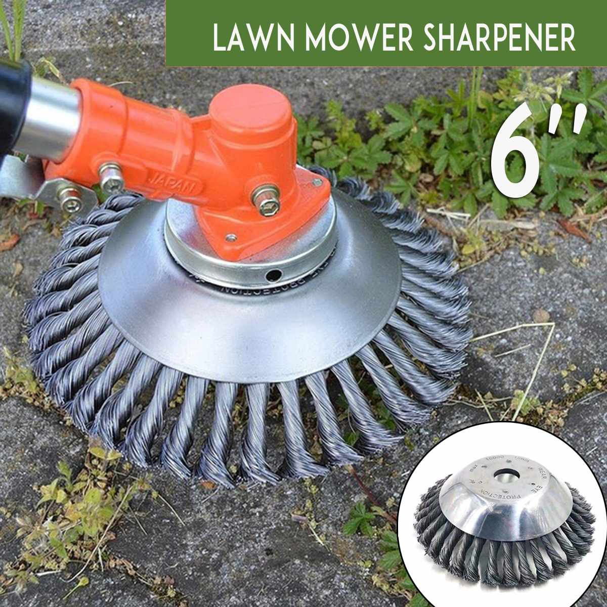 6 Inc Steel Wire Grass Trimmer Head Tray Brush Cutter Rotary Wheel Edge Head Dust Removal Safe Strimmer For Lawn Mover Part Tool