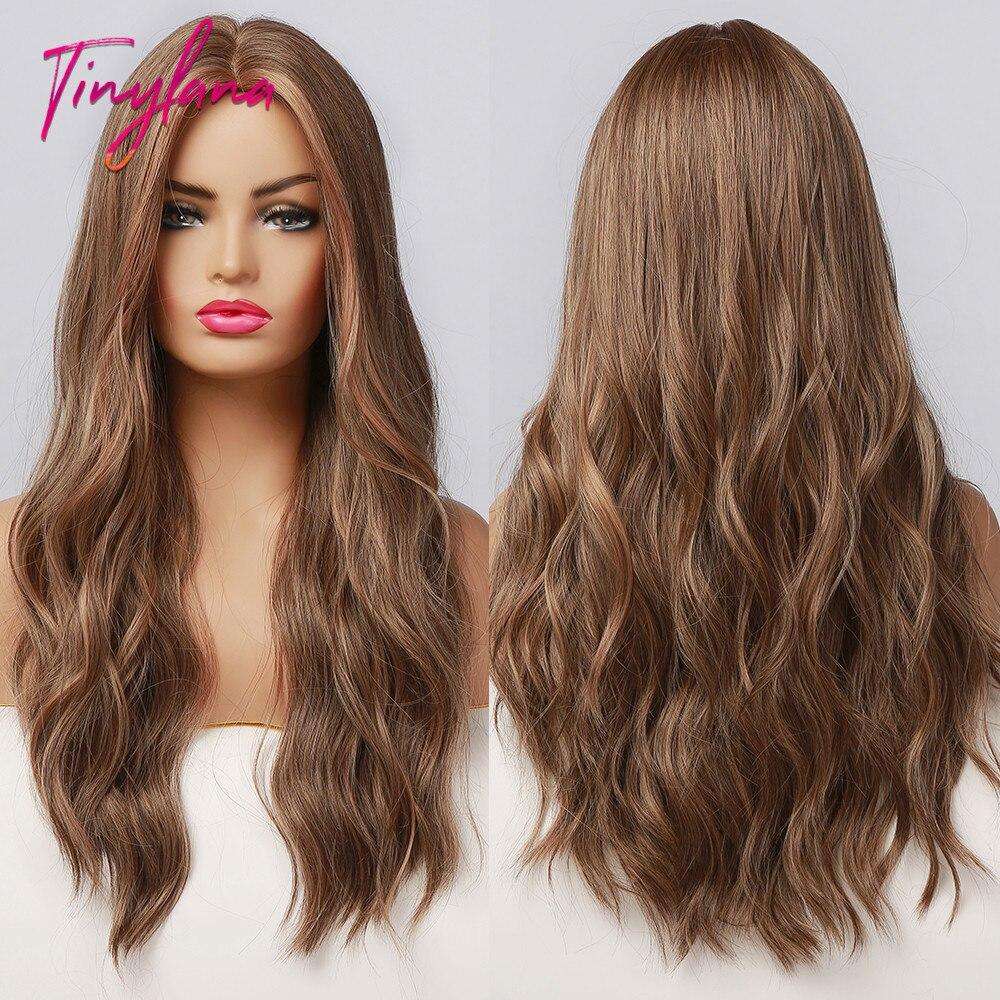Крошечная Лана Длинные Синтетические темно-коричневые волнистые блестящие парики хайлайтер средняя часть термостойкие парики для косплея...