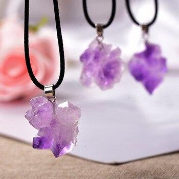 1PC naturel cristal pendentif collier br sil am thyste cristal forme al atoire pierres Reiki mode