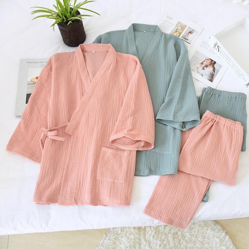 Japanese kimono spring and summer cotton crepe pajamas nightgown set plus size couple men's sauna clothes yukata women robe sets