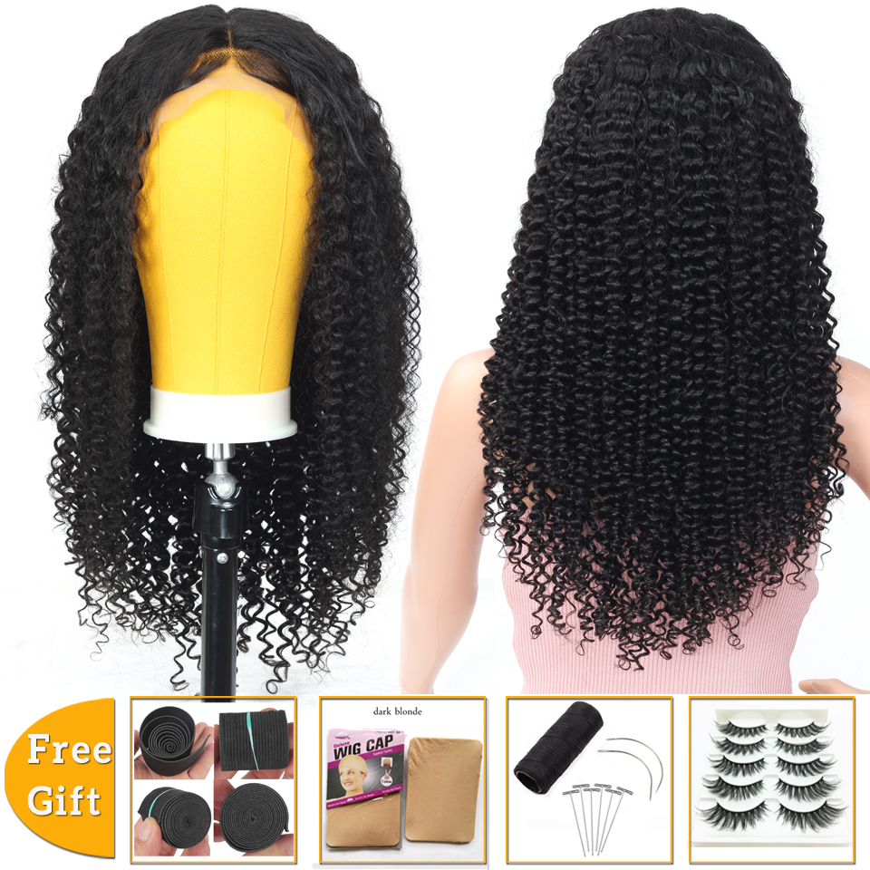 Brazilian Kinky Curly Human Hair Wig 13x4 Lace Front Wig Short Bob Lace Front Human Hair Wigs For Women Non-Remy 150% Density