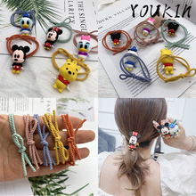 Fashion Cute Anime 3D Cartoon Mickey Minnie Elastic Hair Rope Hairpin Cloth Rope Women Girl Children Headdress Accessories Gifts cute cartoon girl mickey hair rope minnie doll anime daisy donald headband for kid knotted hair loop women holder headdress gift