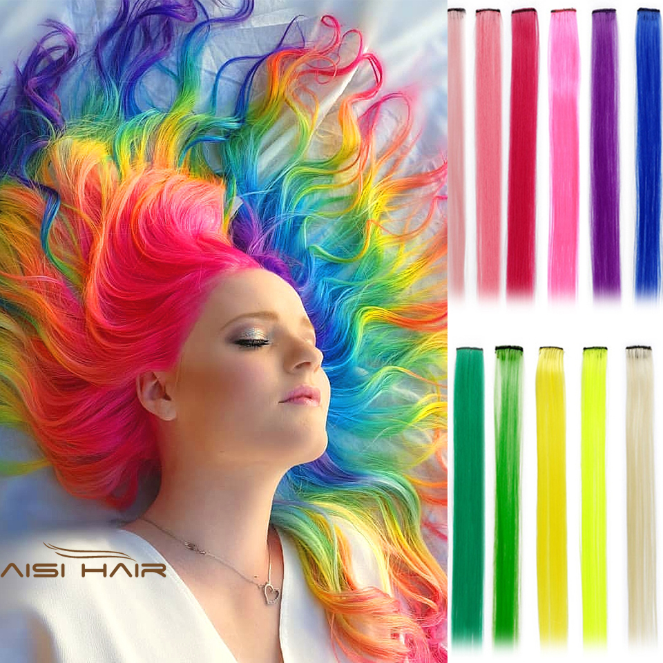 AISI HAIR Colorful Clip in Synthetic Hair Extensions Long 20 Inches Heat Resistant Fiber Party Highlights Multiple Colors