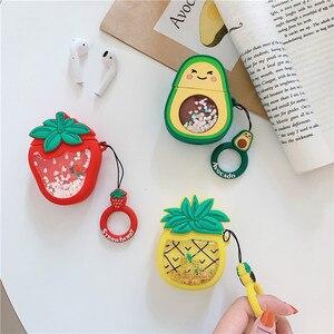 Image 1 - Quicksand Glitter Cute Fruit Avocado fragola pino apple cuffie per Apple Airpods 1/2 custodia protettiva in Silicone per auricolari