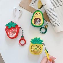 Quicksand Glitter Nette Obst Avocado Erdbeere Ananas Headset Fällen Für Apple Airpods 1/2 Silikon Schutz Kopfhörer Abdeckung