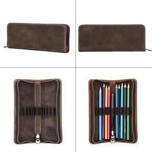 Image 3 - Genuine Cow Leather Zipper Pen Pouch Pencil Bag Pen Bag Retro Pencil Case School Stationery Bag For Fountain Pen Simple Style