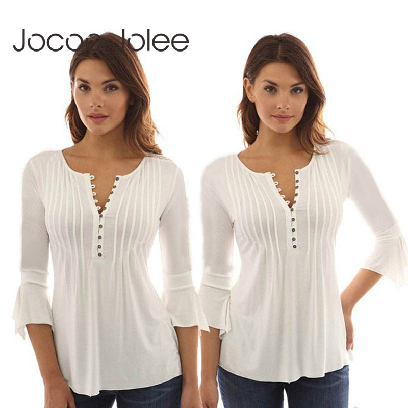 Korea Style Women   Blouse     Shirts   Elegant Ruffles Women Tops Plus Size Flare Sleeve Solid Casual Loose   Shirt   blusas feminina