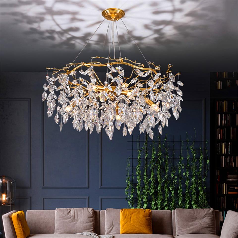 Image 2 - Nordic Luxury Gold Crystal Chandelier Lighting Modern Large Lustre Hanging Lamp for Living Room Hotel Hall Art Decor LightingChandeliers   -