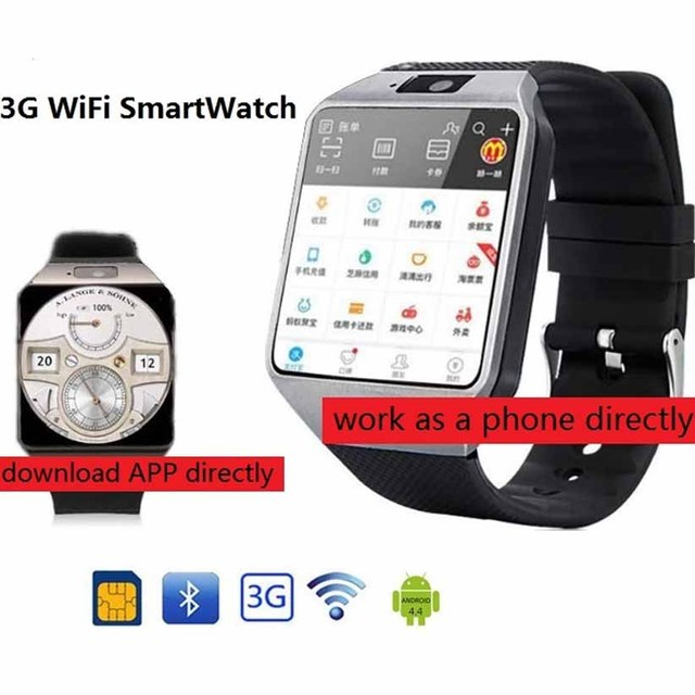 3G WIFI reloj inteligente 4 GB ROM deporte de Facebook/Twitter/WhatsApp Internet QW09 Bluetooth Smartwatch Cámara 2,0 del podómetro tarjeta SIM