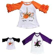 2019 Autumn Children's T-Shirt Ruffle Long Sleeve Cartoon Boutique Tops Baby Girl Thanksgiving Pumpkin Costumes Raglan T Shirts raglan sleeve bowknot embellished cut out t shirt