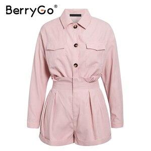 Image 5 - BerryGo décontracté boutons deux pièces costumes femmes ensemble taille haute poches femme combinaison courte 2020 été style dames ensembles tenue