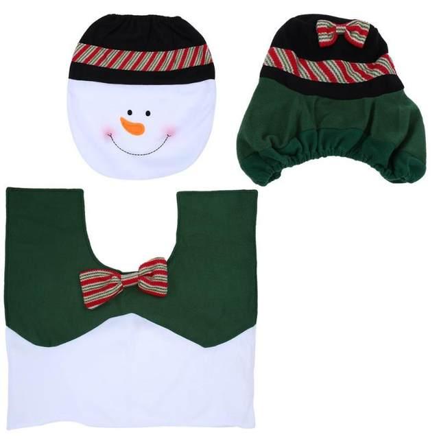3Pcs/set Christmas Santa Toilet Seat Cover Anti-Slip Bathroom Mat Toliet Rug Christmas Decoration for Home New Year Mat 32