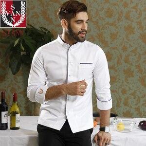 Image 4 - Usługi gastronomiczne wysokiej jakości restauracja kuchnia czystej bawełny z długim rękawem biały top fartuch szefa kuchni do gotowania konkurencji