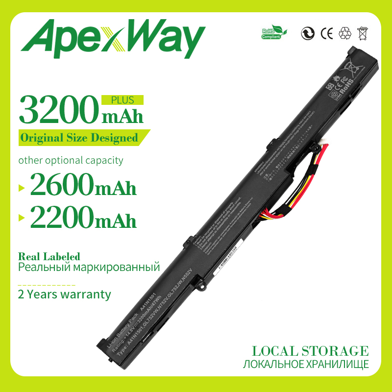 Apexway 48Wh Laptop Battery A41N1501 for ASUS GL752JW GL752 GL752VL <font><b>GL752VW</b></font> N552 N552V N552VW N752 N752V N752VW Series image