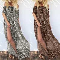 2020 ZANZEA Women's Print Leopard Sundress Sexy Off Shoulder Maxi Dress Fashion Split Holiday Summer Long Vestido Plus Size Robe