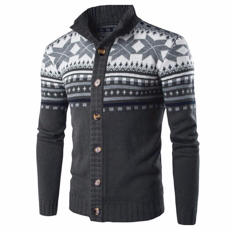 Winter Retro Fashion Mens Sweater Cardigan Print Warm Long Sleeve Streetwear Button Knitted Sweater Men Christmas Style Pullover
