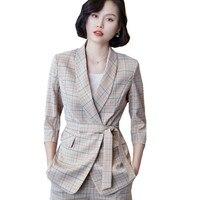 Woman Costume Pant Suit 2 Piece Office Trousers Set Suits the Feminine Khaki Plaid Blazer Jacket +Long Pant Suit Woman 808216