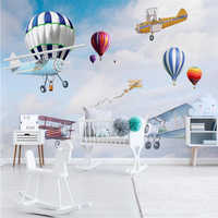 beibehang Custom 3d wallpaper mural Nordic minimalist hand-painted cartoon airplane balloon children room background wall