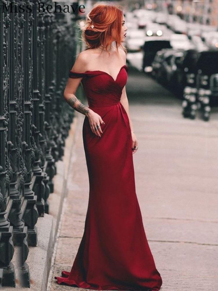 DD JYOY Burgundy Mermaid Evening Dress Party Gown Elegant Off Shoulder Satin Dress Zipper Back Simple Folding Design