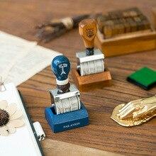 Popular Zakka Retro Wooden Handle Date Stamp Roller Stamp 2 POptional